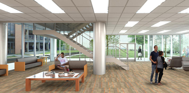 Rendering of an interior lounge in Scioto, as it will look when the project is complete
