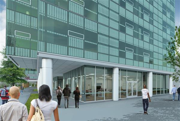 Rendering of the exterior of the Scioto lounge, as it will look when the project is complete.