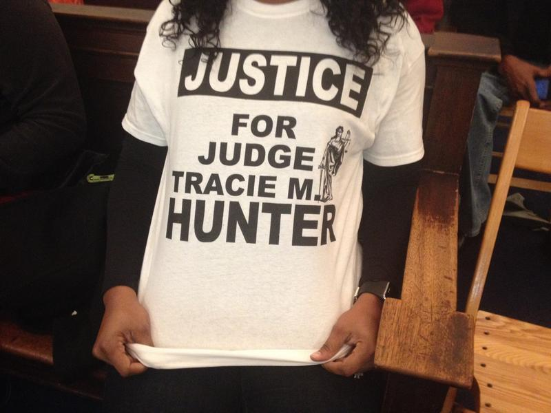 Hunter supporters filled the courtroom awaiting her sentence.