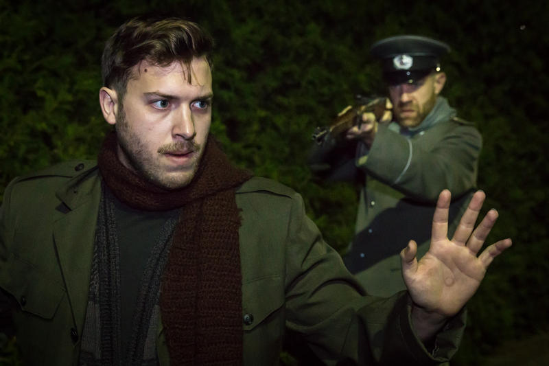 "A German officer, played by Jeffrey Miller (right), confronts a British soldier (Aaron Epstein) in ""Soldier's Christmas."""