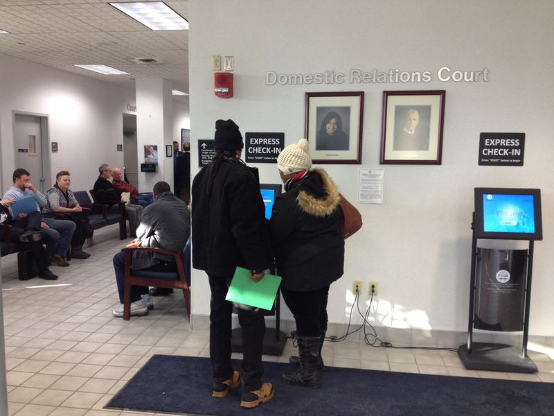During a busy day at the Montgomery County Domestic Relations Court, the kiosks get a workout.