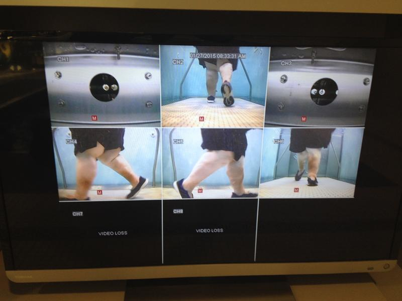Multiple cameras provide different views of the treadmill.
