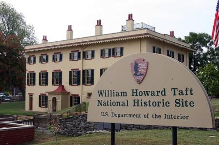 A notice on the William Howard Taft National Historic Site website says the grounds remain open but the visitor center and business office are closed because of the partial government shutdown.