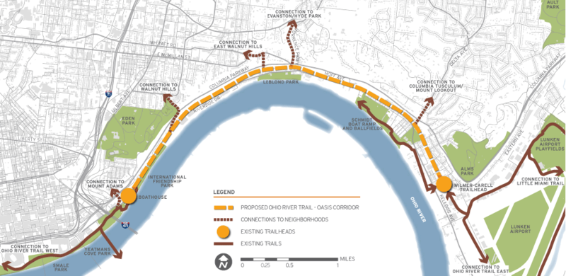 The proposed $4 million project would pave over one set of existing railroad tracks to create a bike/walking trail from Lunken Airport to the Montgomery Inn Boathouse.