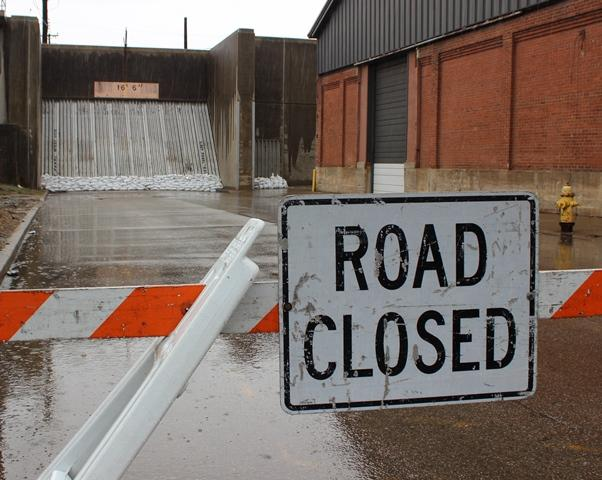 Cincinnati closed floodgates Thursday at Carr in Queensgate.