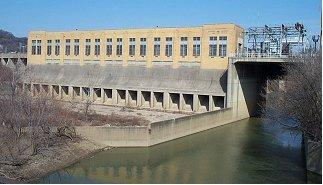 The barrier dam on the Mill Creek that provides flooding protection for parts of Cincinnati.