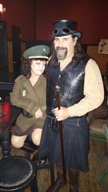 Tiki Von Synthe and Abe Synthe go to two or three steampunk conventions a year.