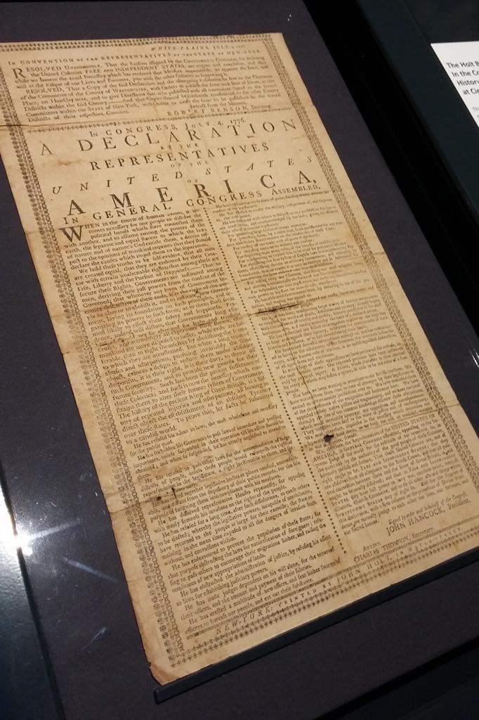 One of only four Holt Broadside printings of the Declaration of Independence.