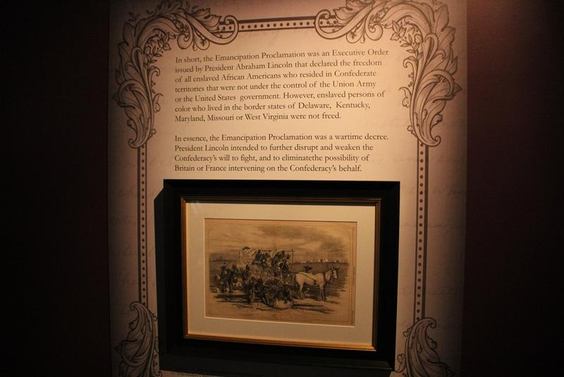 Reprints from Harpers' Weekly and other exhibits tell the story surrounding the Proclamation.