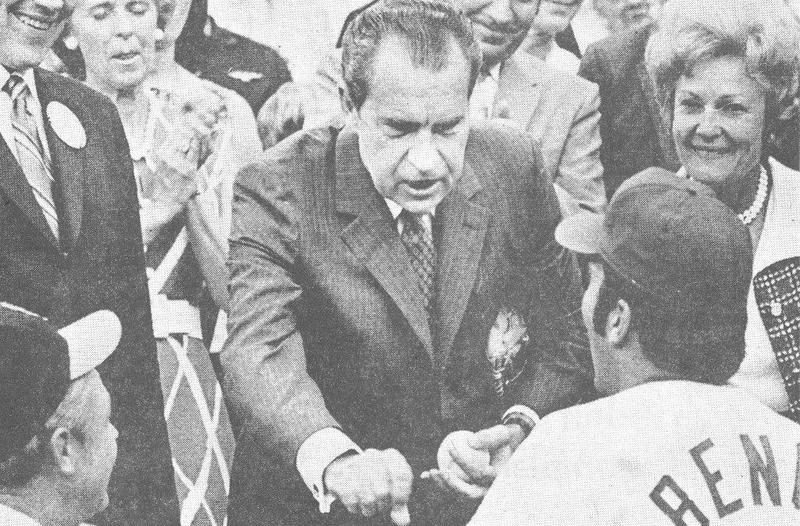 President Richard Nixon chats with Johnny Bench after throwing out ceremonial first pitch at 1970 All-Star game