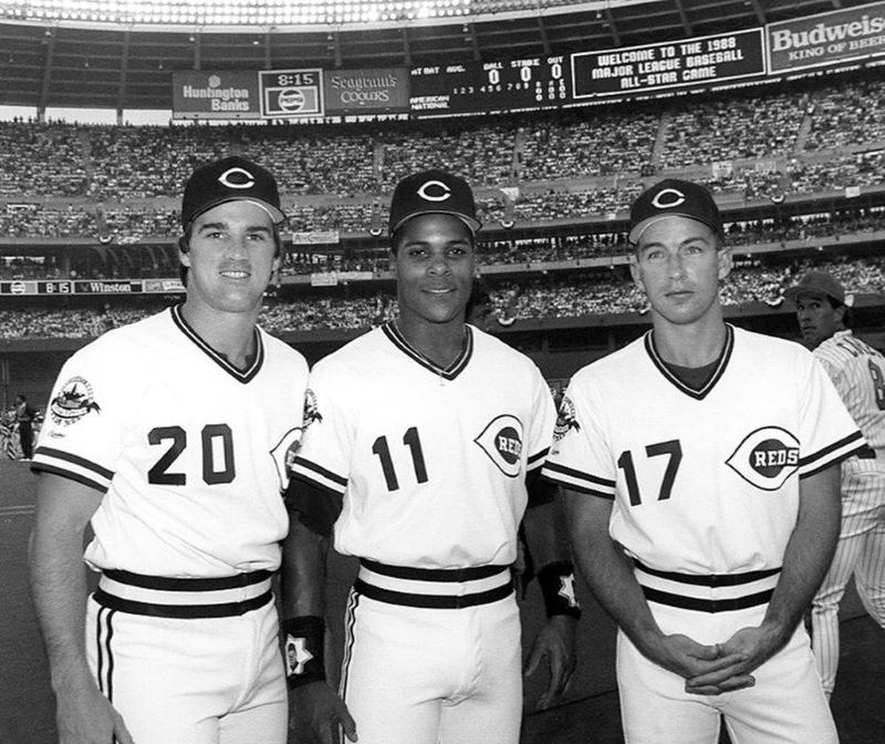 The Reds' 1988 All-Stars just prior to game time. From left to right, Danny Jackson, Barry Larkin and Chris Sabo