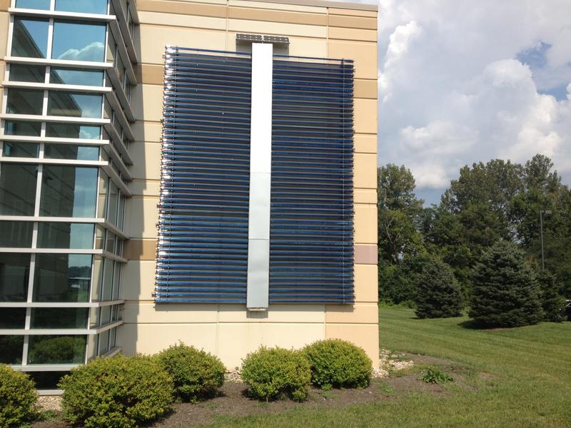 This solar-thermal system heats the water for Melink.