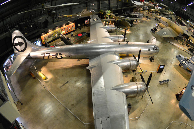 "The B-29 Superfortress ""Bockscar"" at the National Museum of the United States Air Force. On Aug. 9, 1945, the B-29 ""Bockscar"" dropped the ""Fat Man"" atomic bomb on Nagasaki, which led to Japan's surrender and the end World War II."