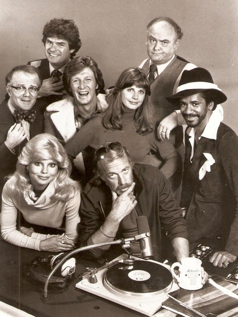 WKRP cast clockwise from bottom left: Loni Anderson, Richard Sanders, Frank Bonner, Gary Sandy, Jan Smithers, Gordon Jump, Tim Reid and Howard Hesseman