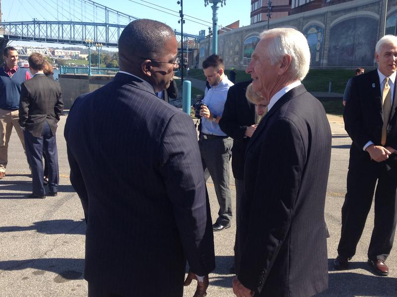 (from left) Cincinnati Parks Director Willie Carden talks to Kentucky Governor Steve Beshear at the Covington Landing.