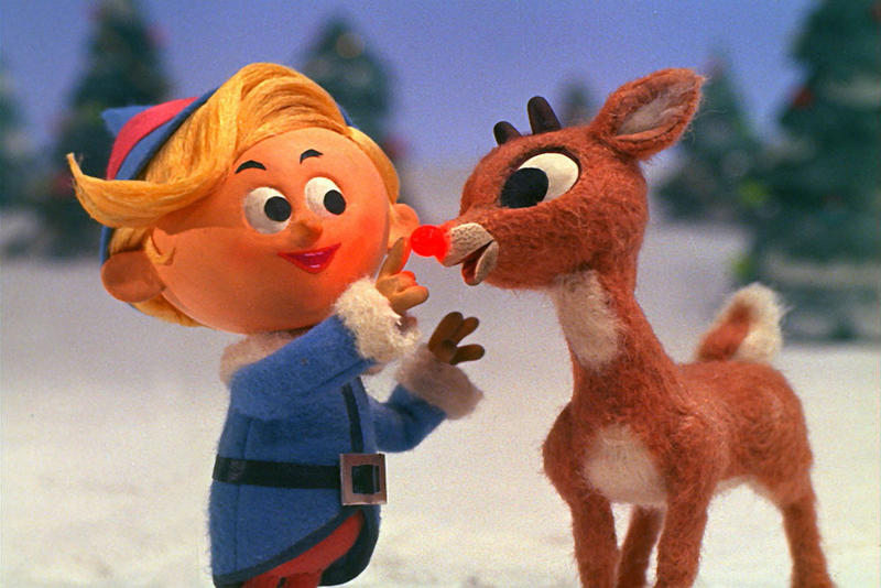 "Rudolph with Hermey the elf in the 1964 animated classic, ""Rudolph The Red-Nosed Reindeer."""