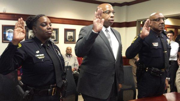 Captains  Kim Williams, Martin Mack and Maurice Robinson were sworn in Wednesday by Chief Eliot K. Isaac.