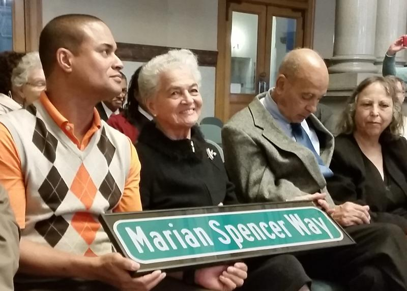 Marian Spencer at a street re-naming ceremony at Cincinnati City Hall in 2016.