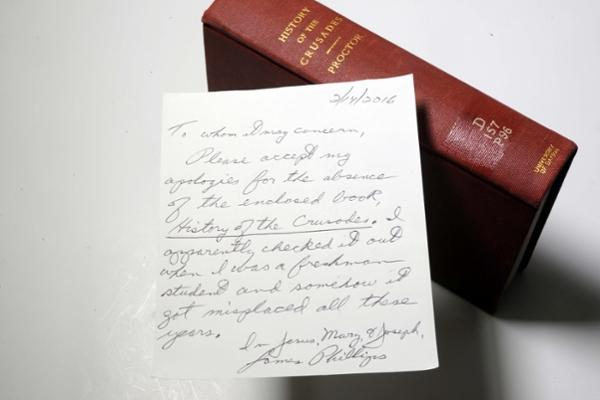 A long overdue library book has found its way back to the University of Dayton.