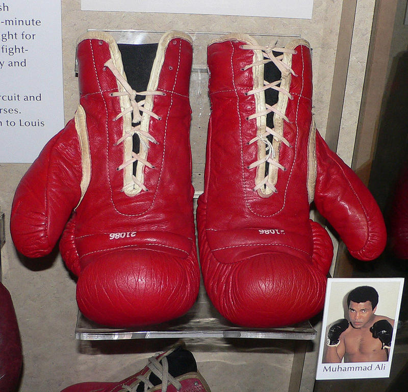 Kentucky born Muhammad Ali's boxing gloves are displayed in Washington D.C.
