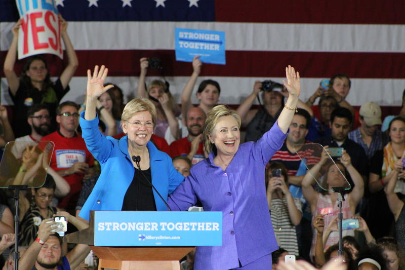 Hillary Clinton and Elizabeth Warren at Museum Center.