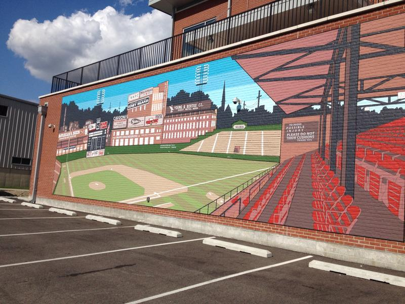 This 17 x 50' mural depicting Crosley Field in the 1950s was painted by Keep Cincinnati Beautiful.