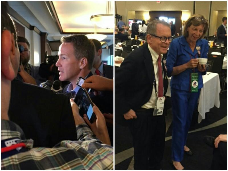 At left, Jon Husted, Ohio Secretary of State speaks with reporters. At right, AG Mike DeWine with wife, Fran DeWine.