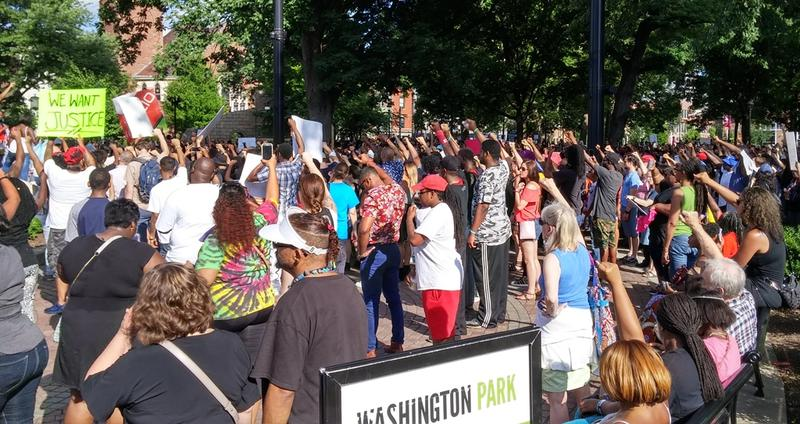 The rally ended at Washington Park with the names of men and women who have died in custody or while having contact with police officers being read aloud..