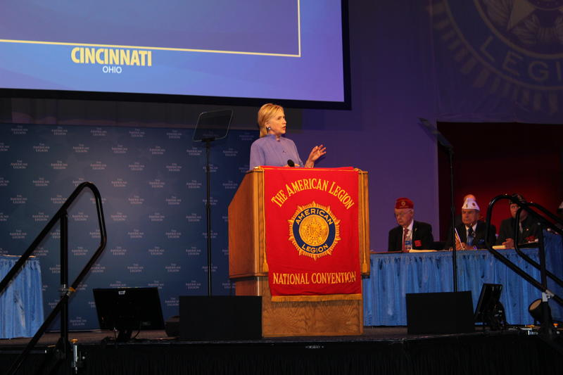 Hillary Clinton addresses the American Legion National Convention Aug. 31, 2016 in Cincinnati.