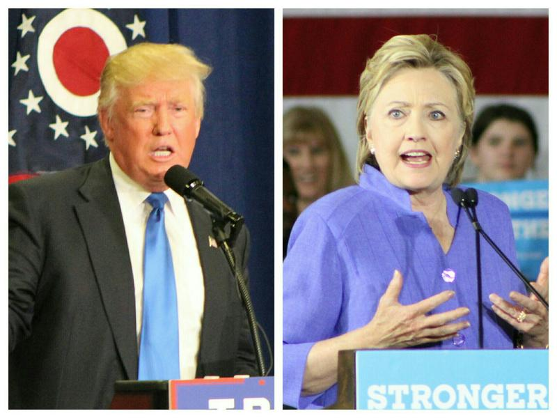 Donald Trump and Hillary Clinton addressing audiences during stops earlier this summer in Sharonville and Cincinnati.