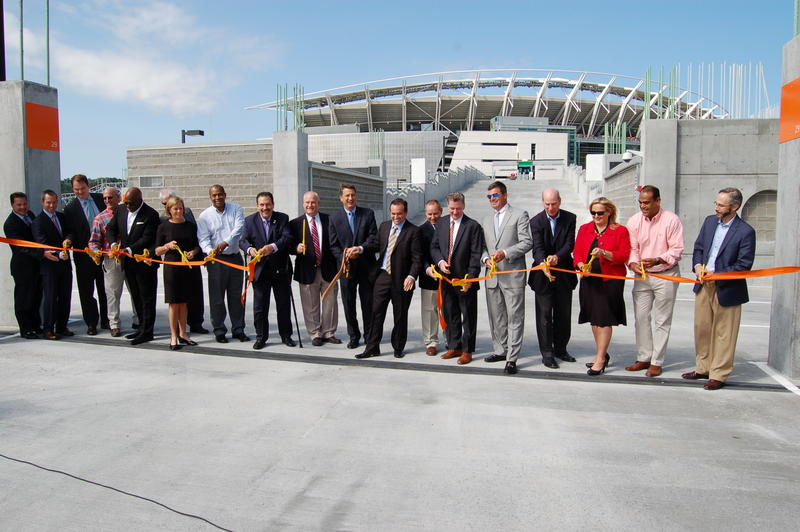 Cincinnati and Hamilton County officials cut the ribbon on Phase IIIA of The Banks public infrastructure project.