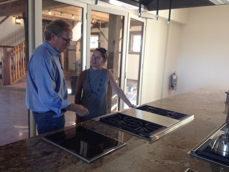 (from left) Robert Edmiston, Ex. Dir. Turner Farm and Sian Cotton, PhD, Director, UC Center for Integrative Health & Wellness in the new Turner teaching kitchen.