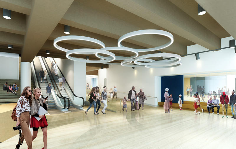 Artist rendering of the planned new mezzanine level lobby.