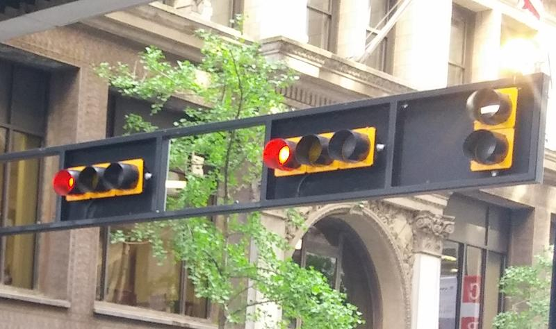 In a few places, the streetcar has its own stoplight, shown here on the right side.
