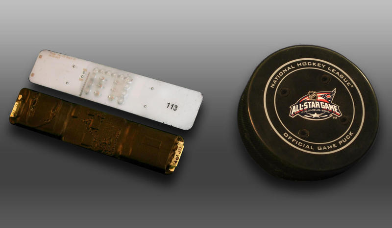 Sportvision is testing tracking devices in hockey player jerseys and in pucks.