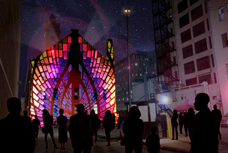 An artist rendering of architectural light mapping on St. Xavier church, sound will also be part of the experience. The parking lot would be transformed into a street party.