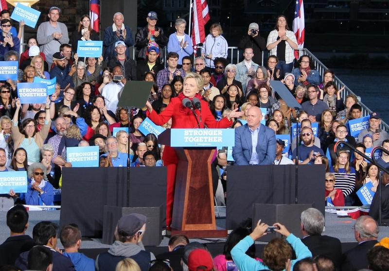 Hillary Clinton addressed a crowd of voters at Smale Riverfront Park Monday evening.
