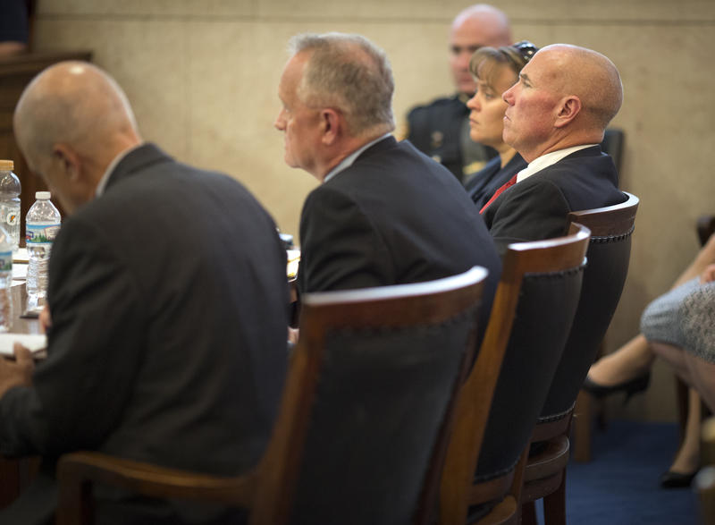 Prosecutors Gibson (left), Deters and Piepmeier during the trial of Ray Tensing Nov. 3, 2016..