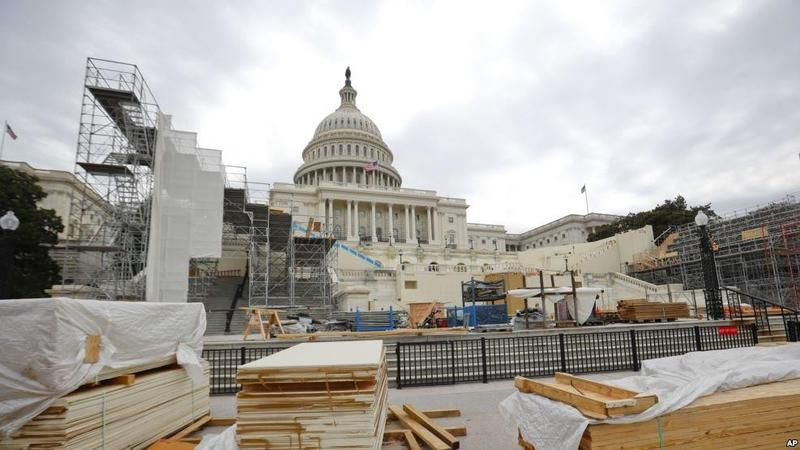 West Front of Capitol Being Prepared For Inaugural Ceremonies