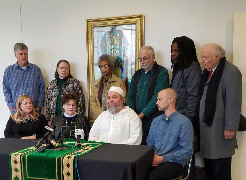 Members and supporters of the Cincinnati Sanctuary Network announce the first member congregations Jan. 18 at the Clifton Mosque.