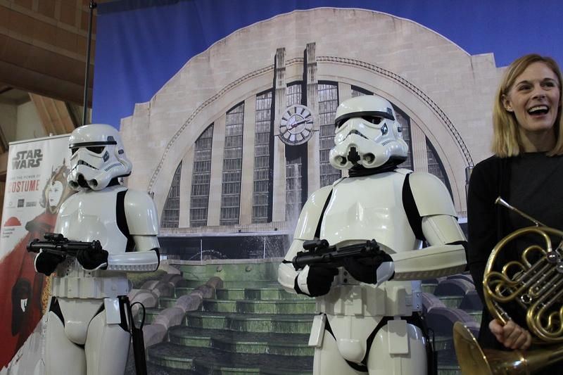 Stormtroopers and a member of the Cincinnati Pops were on hand for the announcement of a new Star Wars-themed exhibition.