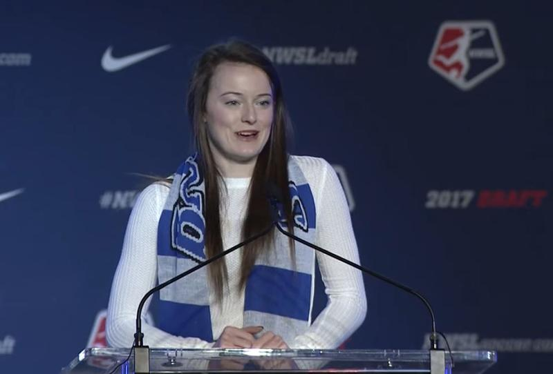 Rose Lavelle thanks friends, family, teammates and coaches after being named the number one pick in the 2017 NWSL draft.