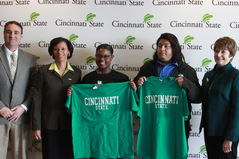 left to right: Paul Daniels, principal of Withrow HS; Dr. Monica Posey, president of Cincinnati State; Sharrell Lasley, Withrow HS Senior; Oscar Martinez, Withrow HS Senior; and Mary Ronan, superintendent of CPS