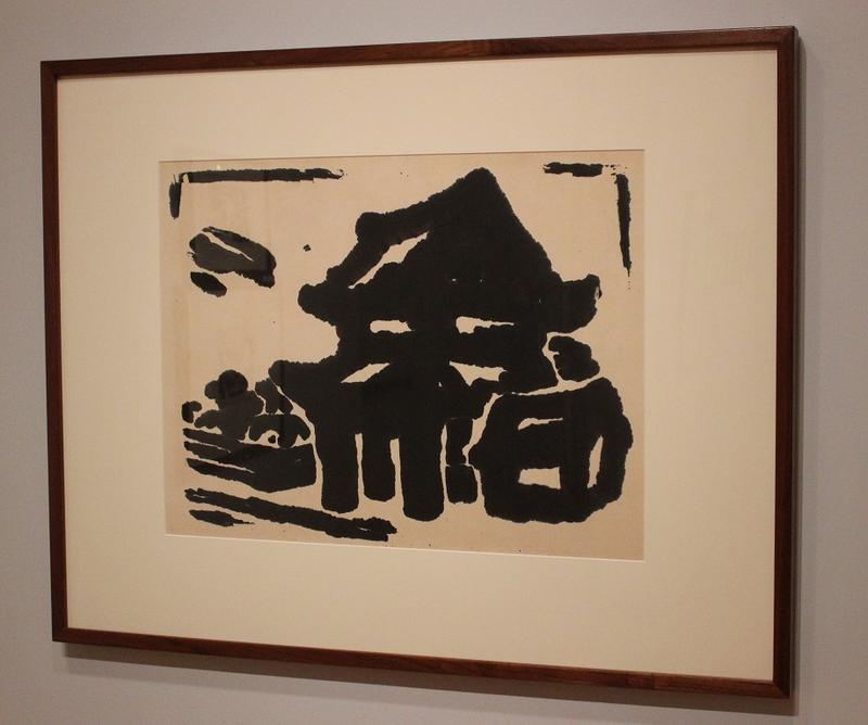 "The woodcut ""Cubic"" is Gajin's abstract take of a temple gate."