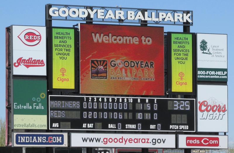 Goodyear Ballpark scoreboard