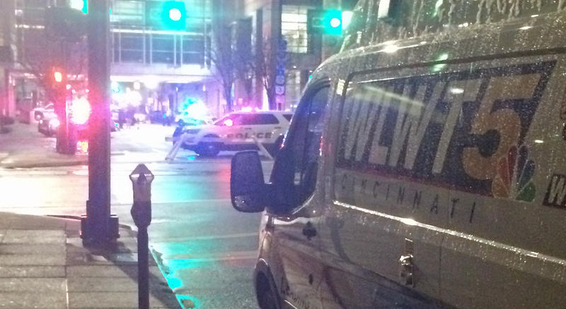 """WLWT-TV news truck parked on Ninth Street for """"The Public"""" filming."""