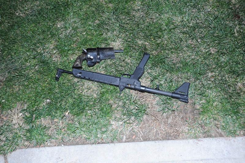9mm carbine rifle that police say McRae had initially concealed and started firing.