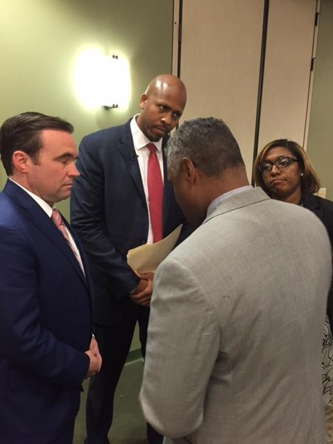 Mayoral candidates John Cranley, Rob Richardson and Yvette Simpson go over ground rules for debate