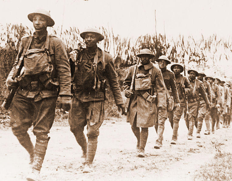 U.S. Army infantry troops, African-American unit, marching northwest of Verdun, France, in World War I.