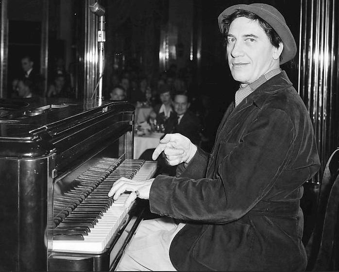 Chico Marx at the piano